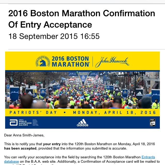 Boston marathon 2016 acceptance email